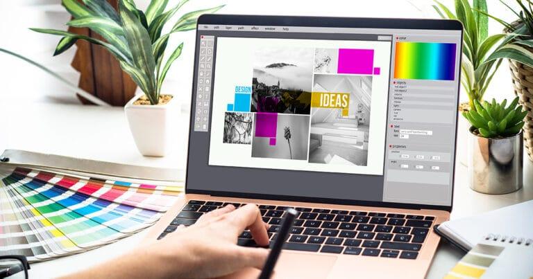 Pessoa usando computador com paleta de cores áreas do design